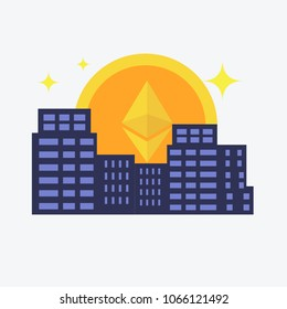 Modern City, and digital payment.Etherium icon rises up like sun in city. Vector flat style illustration