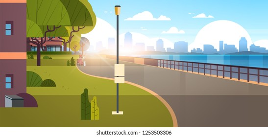modern city empty quay urban cityscape skyscrapers background view of road river and downtown early morning sunrise horizontal banner flat