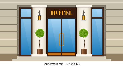 Modern city facade of hotel building. Panel facade of hotel building with window and door. Exterior and interior of building, rest in modern hotel center. Urban landscape. Vector illustration.