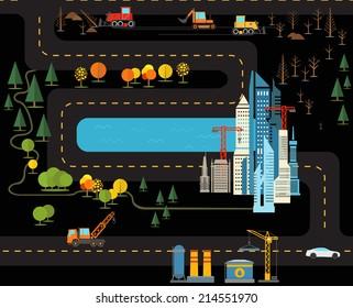 Modern city flat design illustration
