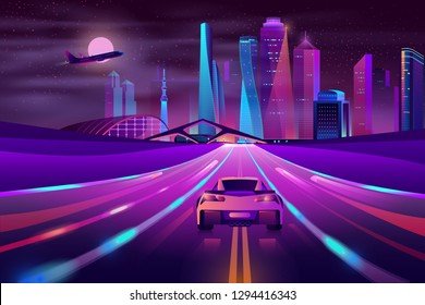 Modern city highway neon cartoon vector with sport car moving fast at night on three-way high speed motorway, airliner flying over metropolis skyscrapers illustration. Future metropolis transport