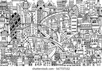 Modern city illustration with a lots of detailed buildings, bridges, roads and cars. Doodle