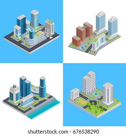 Modern city isometric compositions with commercial buildings and residential houses road infrastructure and transportation isolated vector illustration