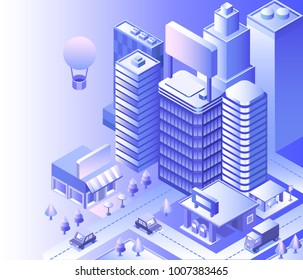 Modern city landscape. Cityscape 3d vector isometric. Skyline scene. Smart city: skyscraper, building, architecture, car, shop, street, road, coffee. Technology in megapolis. Background with gradient.
