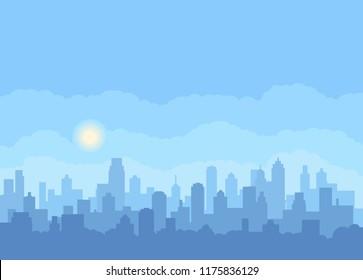 Modern city landscape vector background.  City skyline vector illustration. Gorizontal Urban landscape.