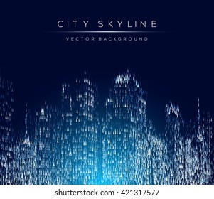 Modern city life abstract background design with geometric shapes. City at night, conceptual vector illustration. Well organized composition.