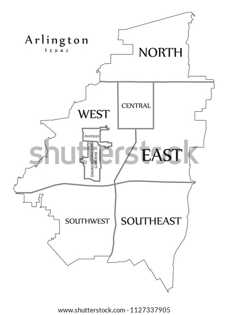 Map Of Texas City.Modern City Map Arlington Texas City Stock Vector Royalty Free
