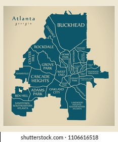 Modern City Map - Atlanta Georgia city of the USA with neighborhoods and titles