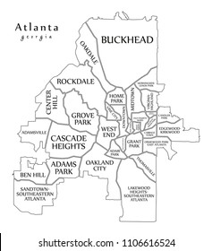 Modern City Map - Atlanta Georgia city of the USA with neighborhoods and titles outline map