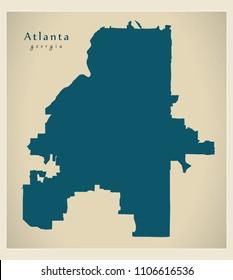 Modern City Map - Atlanta Georgia city of the USA