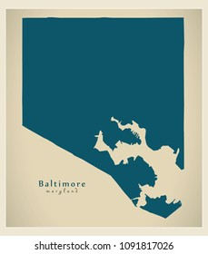 Modern City Map - Baltimore Maryland city of the USA