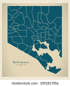 Modern City Map - Baltimore Maryland city of the USA with neighborhoods