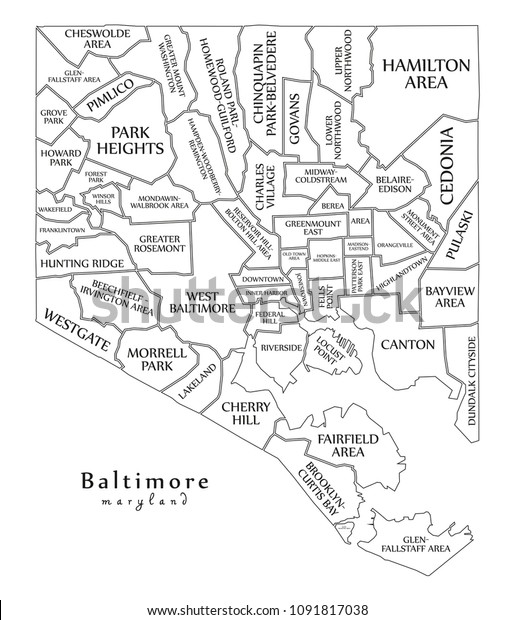 Modern City Map Baltimore Maryland City Stock Vector (Royalty Free on