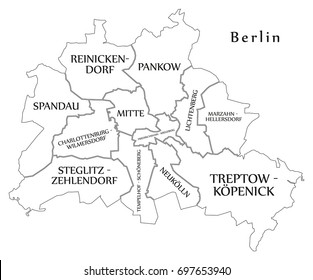 Modern City Map - Berlin city of Germany with boroughs and titles DE outline map