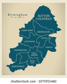 Modern City Map - Birmingham city of England with boroughs and titles UK