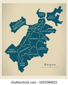 Modern City Map - Boston Massachusetts city of the USA with boroughs and titles
