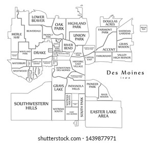 Modern City Map - Des Moines Iowa city of the USA with neighborhoods and titles outline map