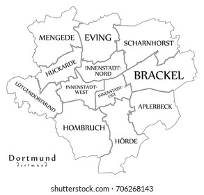 Dortmund On Map Of Germany.Dortmund City Map Germany De Labelled Stock Vector Royalty Free