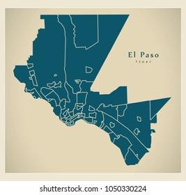 Modern City Map - El Paso Texas city of the USA with neighborhoods