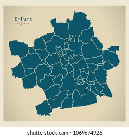 Modern City Map - Erfurt city of Germany with boroughs DE