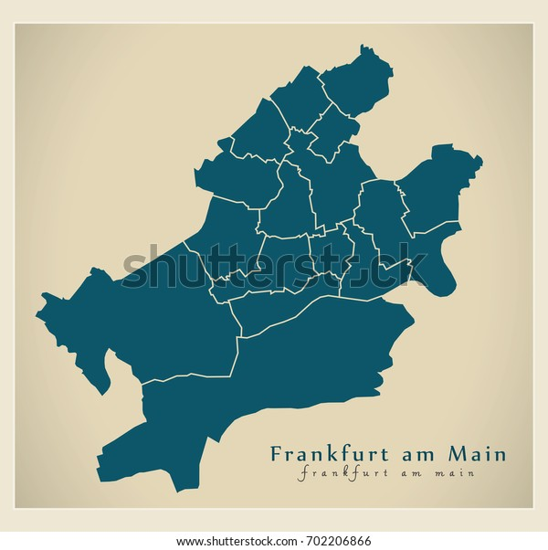 Modern City Map - Frankfurt am Main city of Germany with boroughs DE