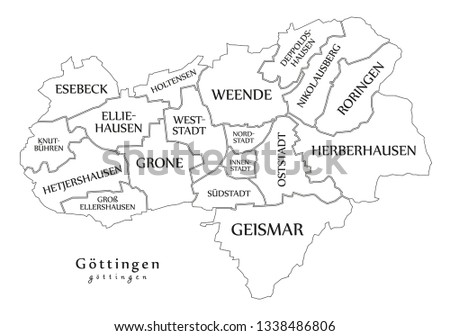 Map Of Germany Gottingen.Modern City Map Goettingen City Germany Stock Vector Royalty Free