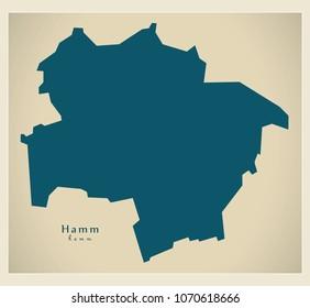 Modern City Map - Hamm city of Germany DE