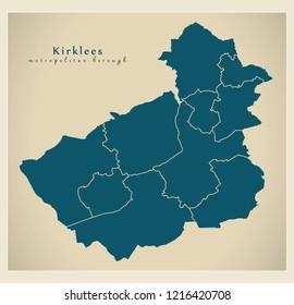 Modern City Map - Kirklees metropolitan borough of England with areas UK