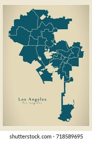 Modern City Map - Los Angeles city of the USA with boroughs