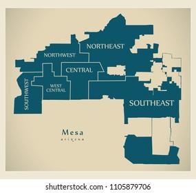 Modern City Map - Mesa Arizona city of the USA with neighborhoods and titles
