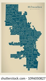 Modern City Map - Milwaukee Wisconsin city of the USA with neighborhoods and titles
