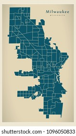 Modern City Map - Milwaukee Wisconsin city of the USA with neighborhoods