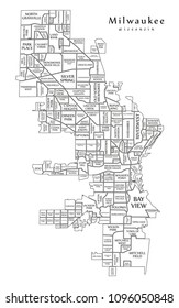 Modern City Map - Milwaukee Wisconsin city of the USA with neighborhoods and titles outline map
