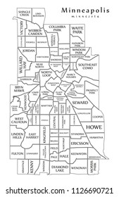 Modern City Map - Minneapolis Minnesota city of the USA with neighborhoods and titles outline map