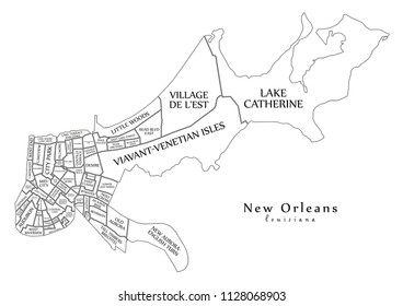 Modern City Map - New Orleans Louisiana city of the USA with neighborhoods and titles outline map