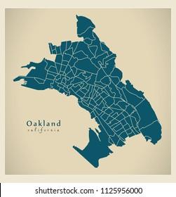 Modern City Map - Oakland California city of the USA with 131 neighborhoods