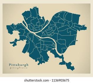Modern City Map - Pittsburgh Pennsylvania city of the USA with neighborhoods
