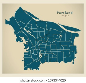 Modern City Map - Portland Oregon city of the USA with neighborhoods