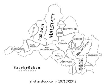 Modern City Map - Saarbrucken city of Germany with boroughs and titles DE outline map