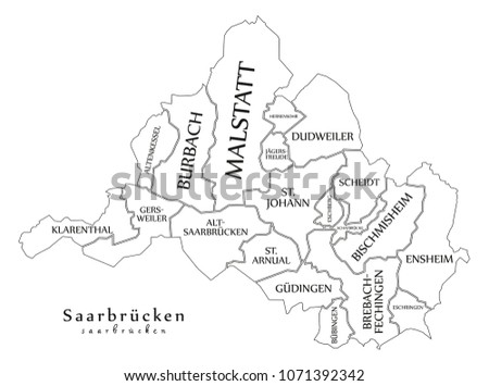Saarbrucken Germany Map.Modern City Map Saarbrucken City Germany Stock Vector Royalty Free