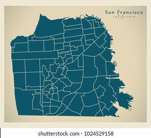 Modern City Map - San Francisco city of the USA with neighbourhoods