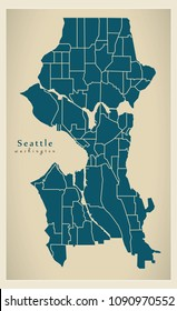 Modern City Map - Seattle Washington city of the USA with neighborhoods