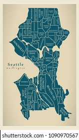 Modern City Map - Seattle Washington city of the USA with neighborhoods and titles