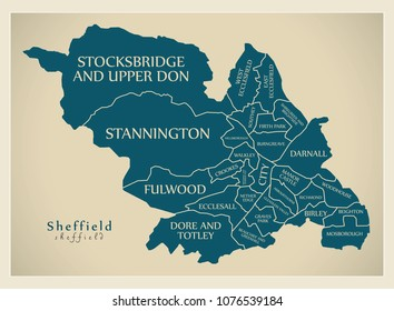 Modern City Map - Sheffield city of England with wards and titles UK