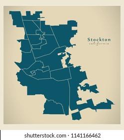 Modern City Map - Stockton California city of the USA with neighborhoods