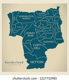 Modern City Map - Sunderland city of England with wards and titles UK
