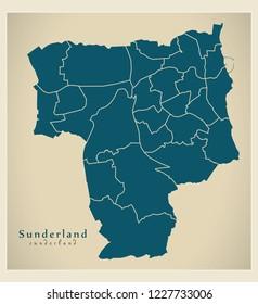Modern City Map - Sunderland city of England with wards UK