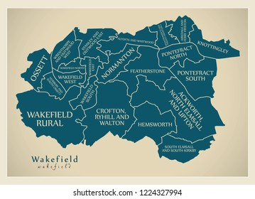 Modern City Map - Wakefield city of England with wards and titles UK