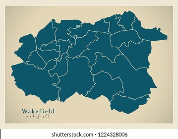 Modern City Map - Wakefield city of England with wards UK