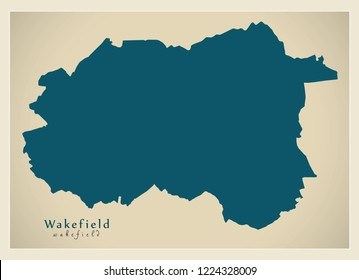Modern City Map - Wakefield city of England UK